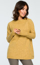 Mustard Ribbed Trim Long Sleeve Jumper by MOE