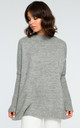 Grey Ribbed Trim Long Sleeve Jumper by MOE