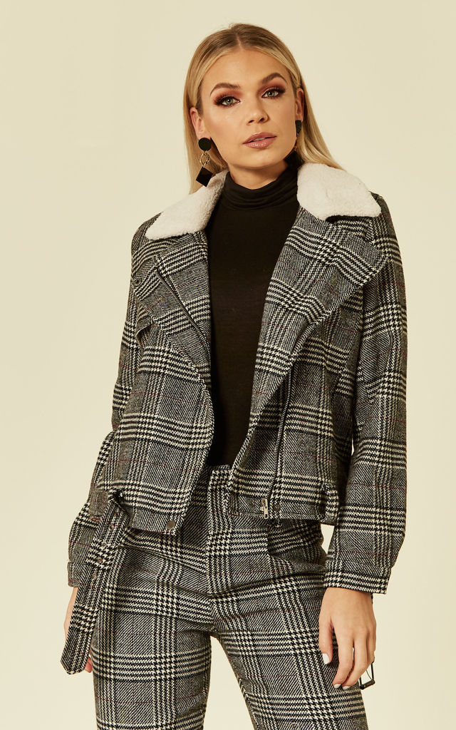 LENA - PLAID WOOL MIX BIKER STYLE JACKET WITH FAUX FUR COLLAR AND LINING by Goldie