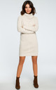 High Neck Knitted Dress in Beige by MOE