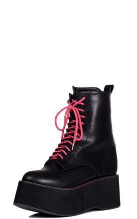 ARGONA Lace Up Flat Ankle Boots Shoes - Black Leather Style by SpyLoveBuy