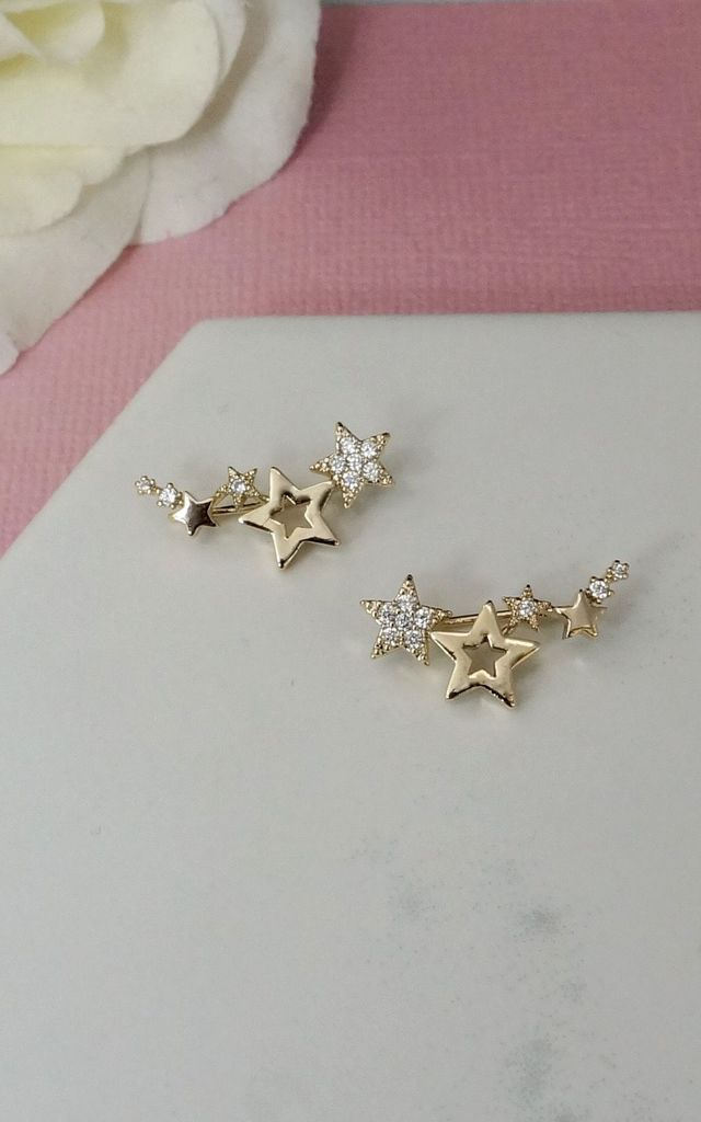 GOLD PLATED CRYSTAL STARS EAR CLIMBER by EPITOME JEWELLERY