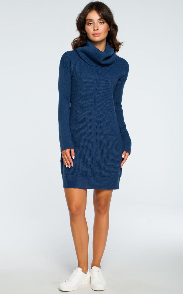 High Neck Knitted Dress in Blue by MOE