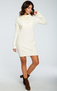 High Neck Knitted Dress in Cream by MOE