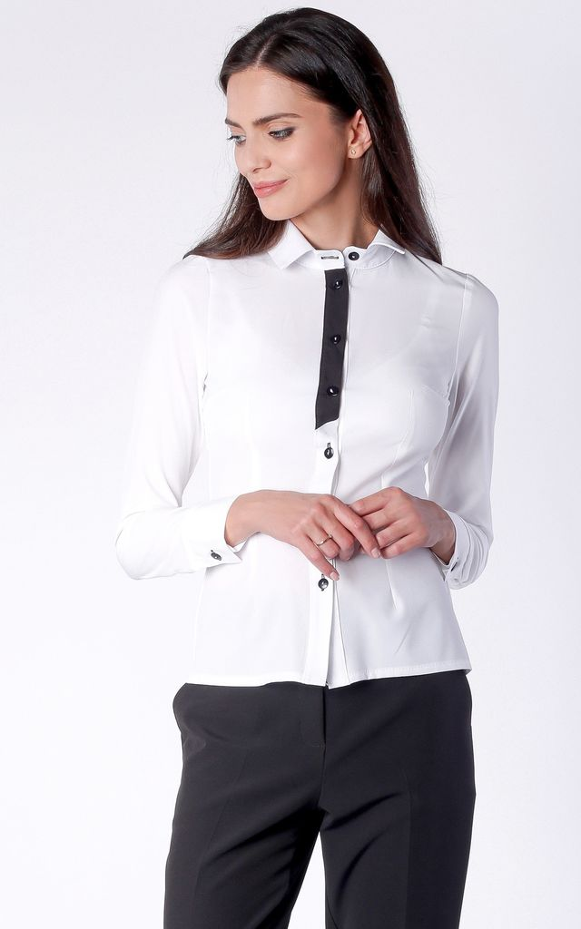 White Long Sleeve Shirt by Bergamo