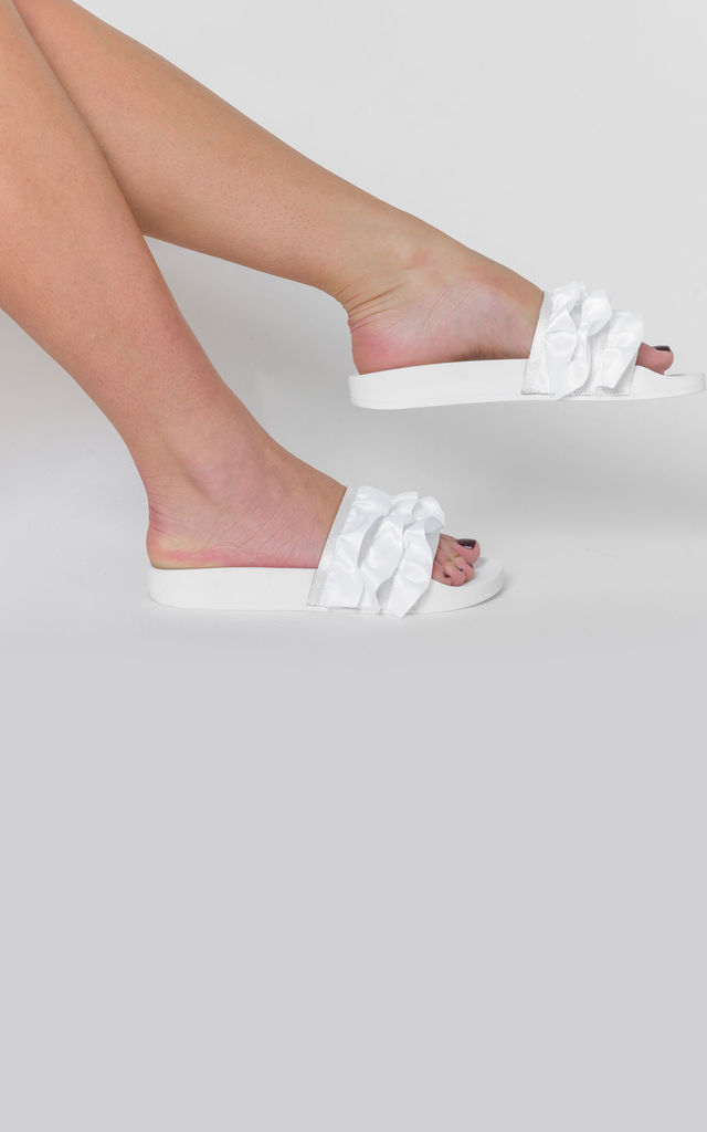 Cardi Sliders with White Satin Ruffle Detail by Poised London