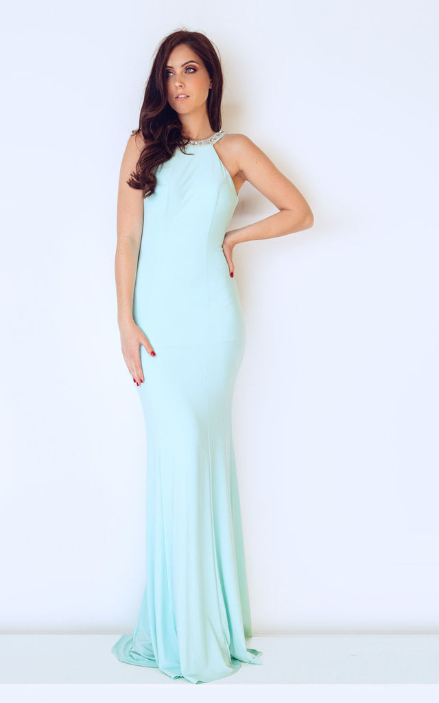 Low Back Fitted Maxi Dress in Duck Egg Blue by Dynasty London