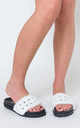 Keeley Studded Detail White Faux Fur Sliders by Poised London