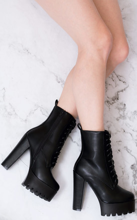 OXKING Chunky Platform Block Heel Ankle Boots - Black Leather Style by SpyLoveBuy