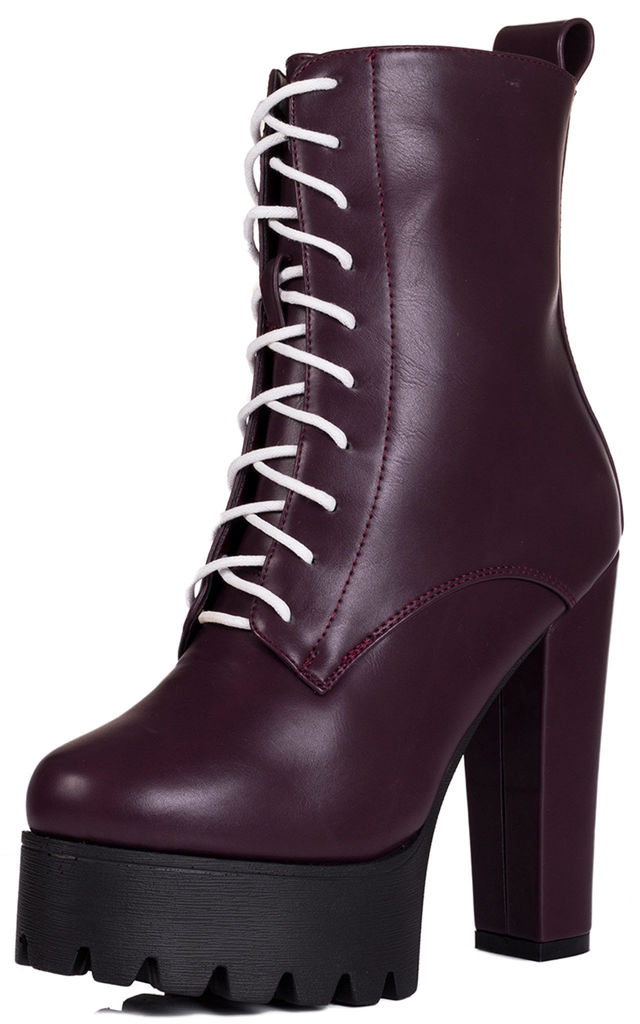 OXKING Chunky Platform Block Heel Ankle Boots - Burgundy Leather Style by SpyLoveBuy