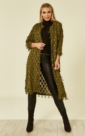 ELISTON SEMI SHEER KIMONO KHAKI by Jovonna London