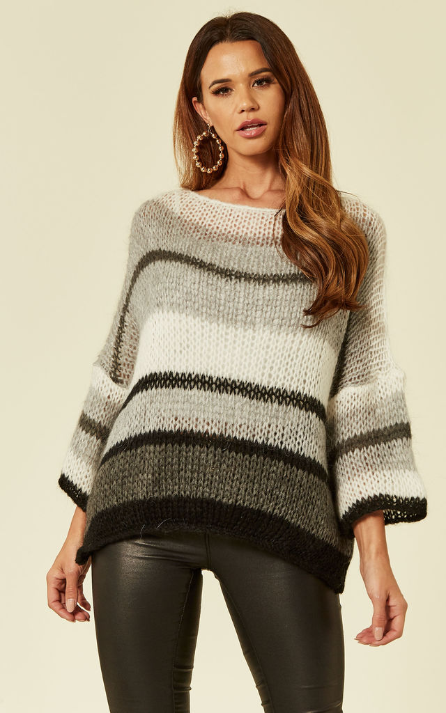 Knitted Striped Boatneck Jumper in Grey by Love