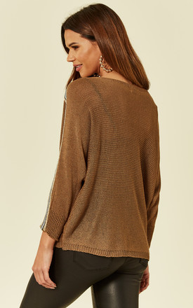 Brown Mushroom Knitted Jumper with Stripes on Sleeves by Love