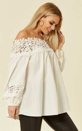 SOFIA2 SWING TOP LACE OFF SHOULDERS WHITE by Jovonna London