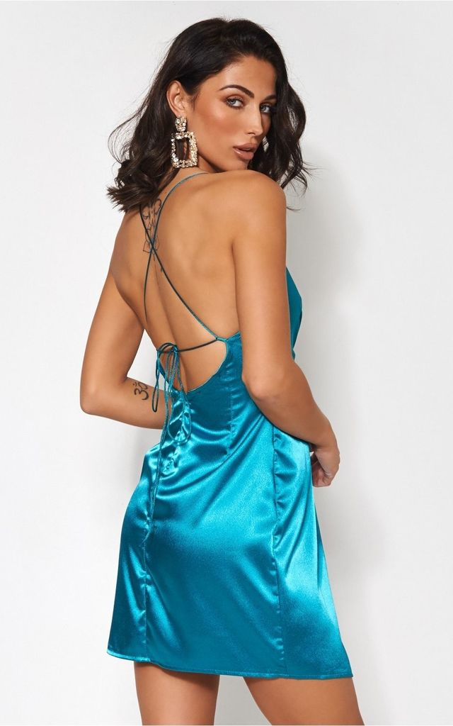 Turquoise Satin Mini Dress by The Fashion Bible