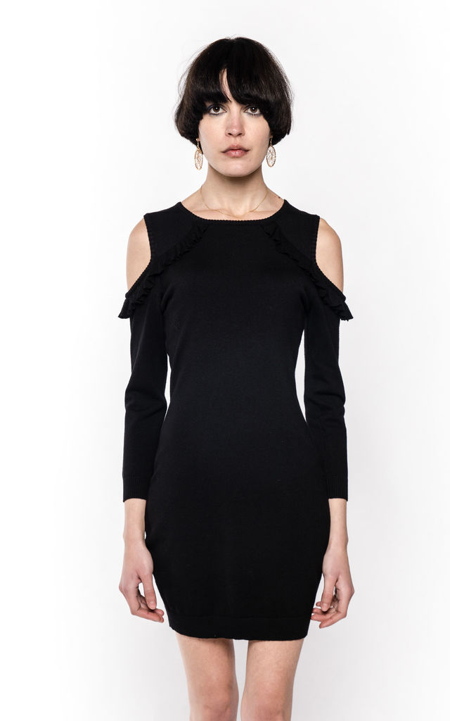 21c2d9cc502e Cold Shoulder Knitted Bodycon Dress with Frill Detail in Black by CY  Boutique