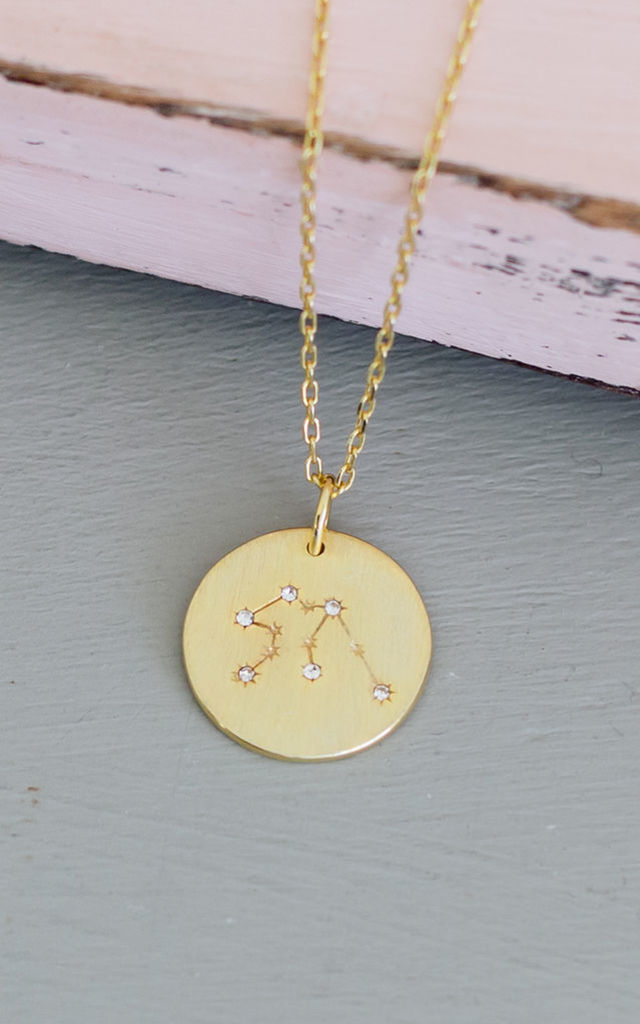 Gold Aquarius Star Sign Constellation Pendant Necklace by Booboo Boutique