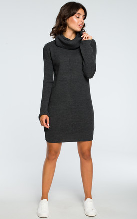 High Neck Knitted Dress in Graphite Grey by MOE