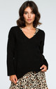 Black V Neck Loose Jumper by MOE