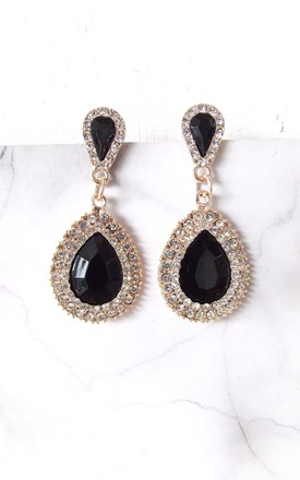 Black And Crystal Jewelled Teardrop Earrings by Olivia Divine Jewellery Product photo