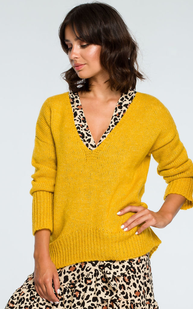 Mustard V Neck Loose Jumper by MOE