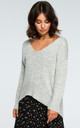 Grey V Neck Loose Jumper by MOE