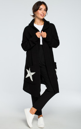 Black Hooded Star Cardigan by MOE Product photo