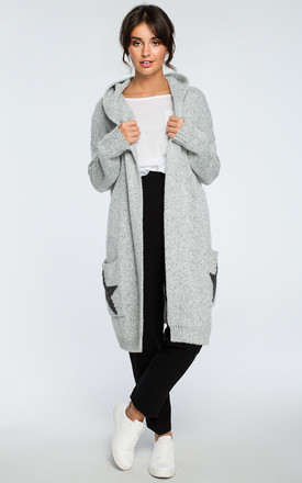 Grey Hooded Star Cardigan by MOE Product photo