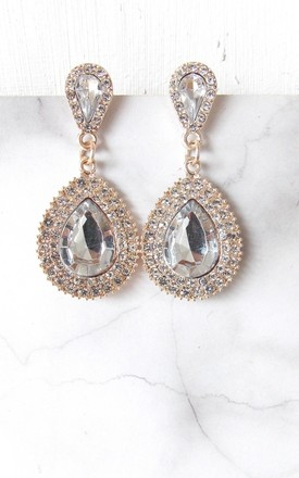 Crystal Jewelled Teardrop Statement Earrings by Olivia Divine Jewellery Product photo