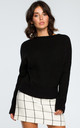 Black Boat Neck Jumper by MOE