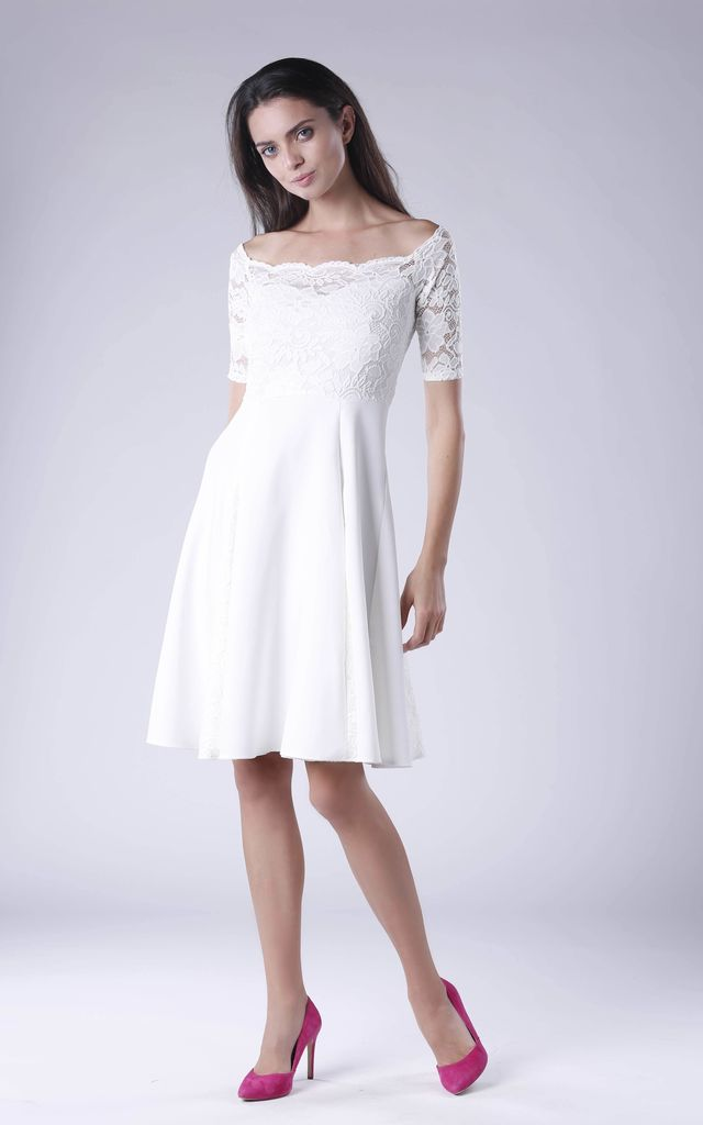 Bardot dress with lace sleeve in white by Bergamo