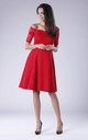 Red Flared Short Sleeves Dress With Lace And Open Shoulders by Bergamo