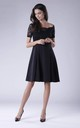 Black Flared Short Sleeves Dress With Lace And Open Shoulders by Bergamo