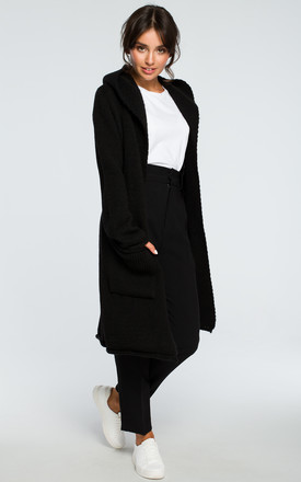 Black Hooded Long Cardigan by MOE Product photo