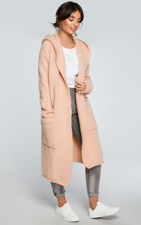 Light Pink Hooded Long Cardigan by MOE Product photo