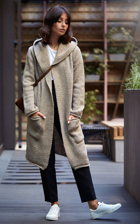 Light Brown Hooded Long Cardigan by MOE Product photo