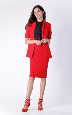 Short Sleeve Jacket with Side Pockets in Red by Bergamo