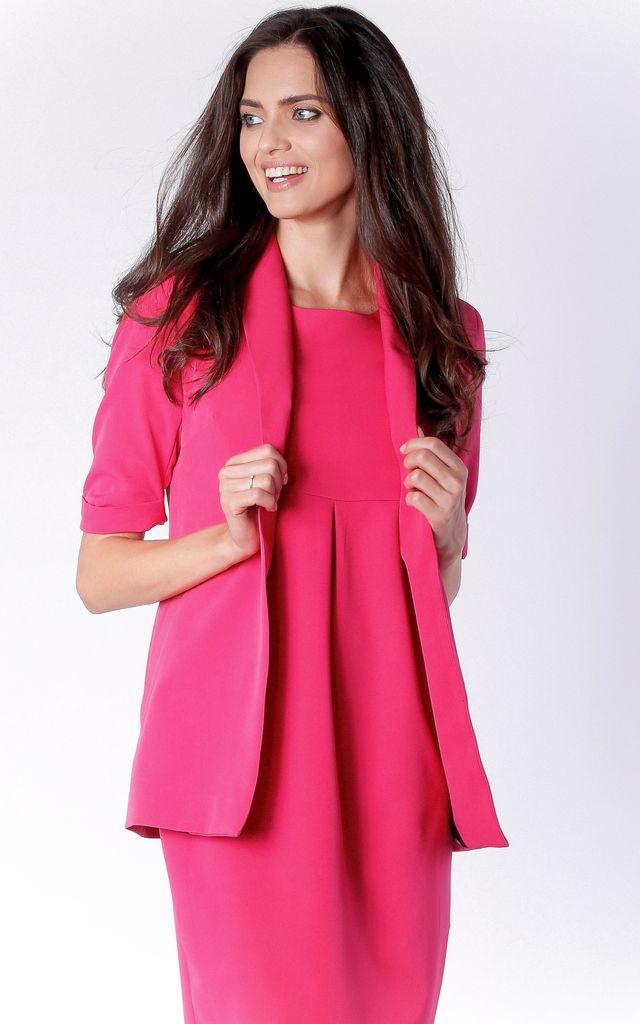 Short Sleeve Jacket with Side Pockets in Deep Pink by Bergamo