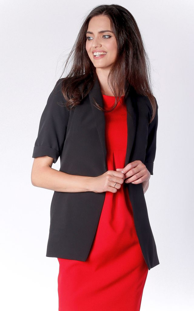 Short Sleeve Jacket with Side Pockets in Black by Bergamo