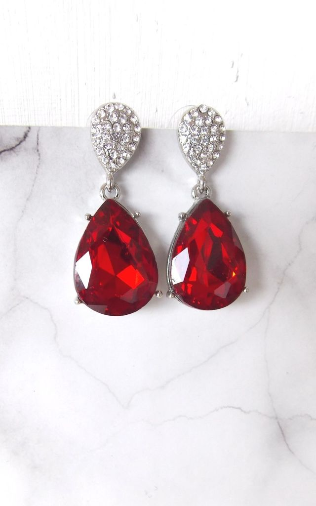 Red and Crystal Teardrop Earrings by Olivia Divine Jewellery