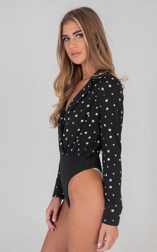 Black Polka Dot Long Sleeves Shirt Bodysuit by Saint Genies