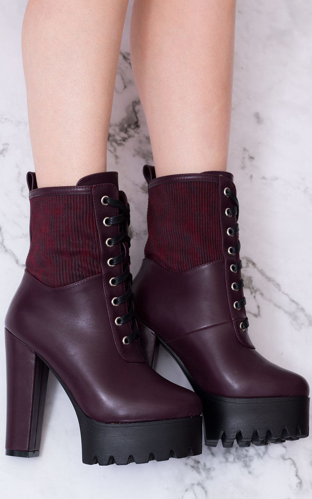 PUFFA Chunky Platform Block Heel Ankle Boots - Red Leather Style by SpyLoveBuy