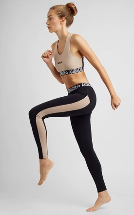 BLACK LEGGINGS WITH NUDE STRIPE by A U D A C I A L D N