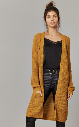 Mustard Longline Cardigan Knit by ONLY Product photo