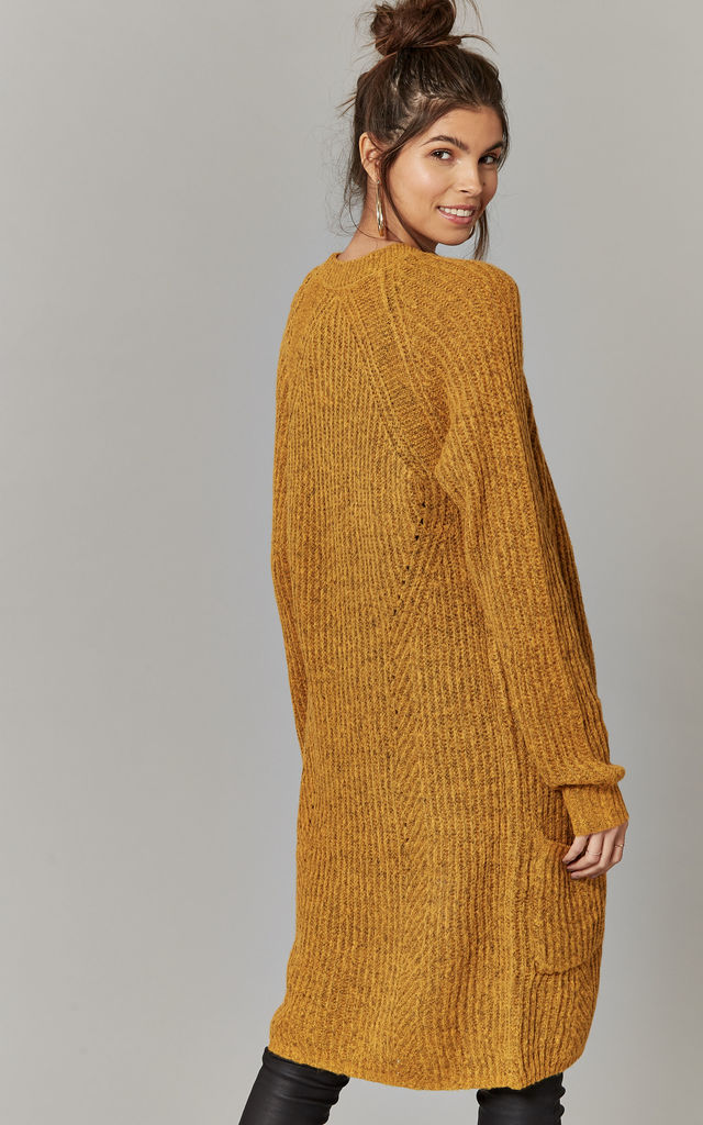 Mustard Longline Cardigan Knit by ONLY