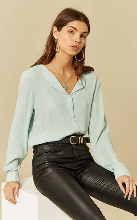 Blue Haze Long Sleeve Collarless Shirt by VILA