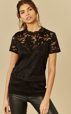Black Short Sleeve Lace Top by VILA Product photo