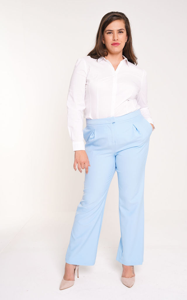UNIQUE21 Plus Size Blue Tailored Wide Leg Trouser by UNIQUE21