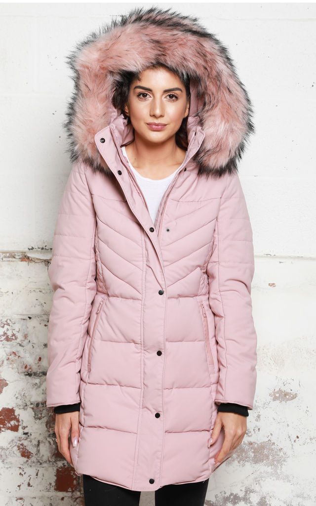 6e71e4e7fe1 Margot Longline Quilted Hooded Puffer Coat With Oversized Faux Fur Trim In  Dusky Pink By One Nation Clothing