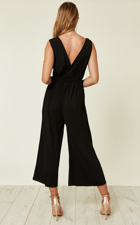 BLACK CULOTTE PLEATED TIE-WAIST JUMPSUIT by AX Paris